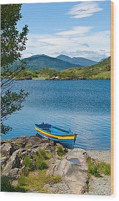Boat On Upper Lake Killarney Wood Print