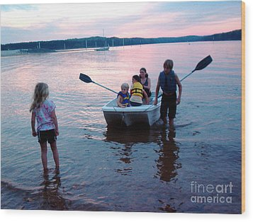 Boat Play Wood Print by Gretchen Allen