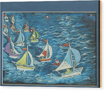 Boat Race/bernie And Joe Wood Print by Joseph Hawkins