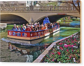 Wood Print featuring the photograph Boat Ride At The Riverwalk by Ricardo J Ruiz de Porras