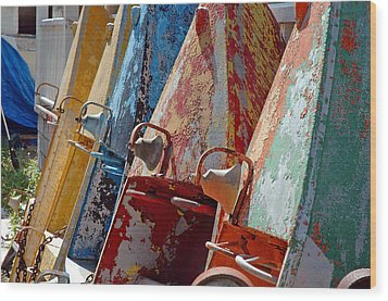 Wood Print featuring the photograph Boat Row by Allen Carroll