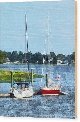 Boat - Two Docked Sailboats Norwalk Ct Wood Print by Susan Savad