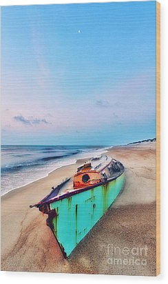 Boat Under Morning Moon Outer Banks I Wood Print by Dan Carmichael