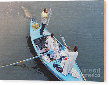 Wood Print featuring the photograph Boat Vendors by Cassandra Buckley