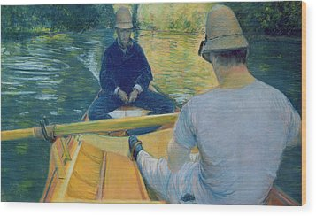Boaters On The Yerres Wood Print by Gustave Caillebotte