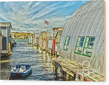 Boathouse Alley Wood Print by William Norton