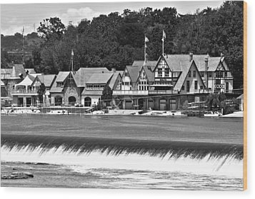 Boathouse Row - Bw Wood Print by Lou Ford