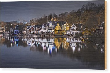 Boathouse Row Wood Print by Eduard Moldoveanu