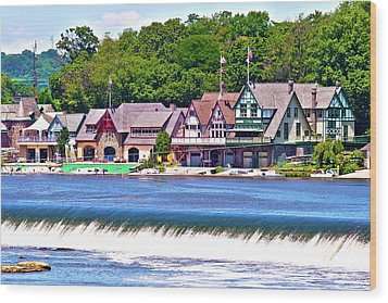 Boathouse Row - Hdr Wood Print by Lou Ford