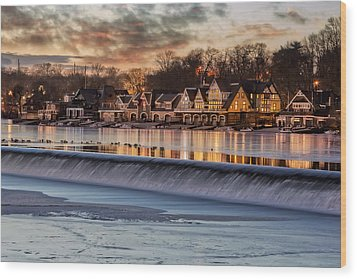 Boathouse Row Philadelphia Pa Wood Print by Susan Candelario