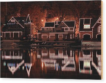 Boathouse Row Reflection Wood Print by Deborah  Crew-Johnson