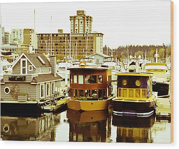 Wood Print featuring the photograph Boathouses by Eti Reid