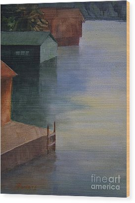 Wood Print featuring the painting Boathouses by Mary Lynne Powers