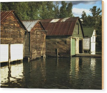 Boathouses On The River Wood Print by Michelle Calkins