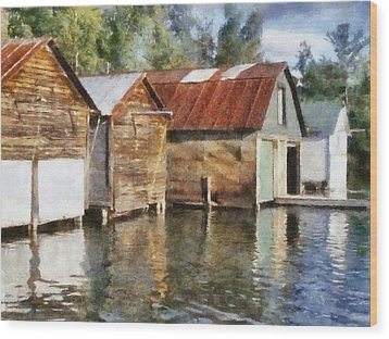 Boathouses On The Torch River Ll Wood Print by Michelle Calkins