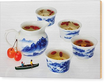 Boating Among China Tea Cups Little People On Food Wood Print by Paul Ge