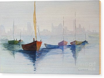 Boats Against The Skyline Wood Print by Sandy Linden