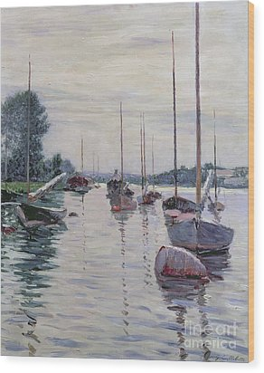 Boats Anchored On The Seine Wood Print by Gustave Caillebotte
