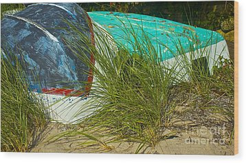 Boats And Beachgrass Wood Print by Amazing Jules