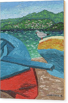 Wood Print featuring the painting Boats And Bird At Rest by Laura Forde