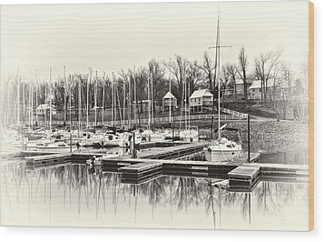 Boats And Cottages In B/w Wood Print by Greg Jackson