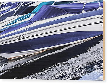 Boats And Reflections Wood Print by Elena Elisseeva