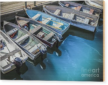 Boats At Bar Harbor Maine Wood Print