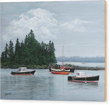 Wood Print featuring the painting Boats At Bar Harbor by Sandra Nardone