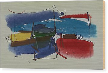 Boats At Dock Wood Print
