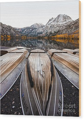 Boats At Mountain Lake In Autumn Fine Art Photograph Print Wood Print