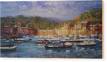 Boats At Portofino Italy  Wood Print by R W Goetting