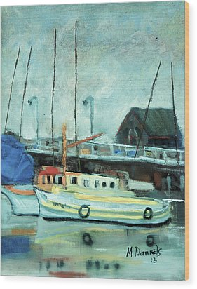 Wood Print featuring the painting Boats At Provincetown Ma by Michael Daniels
