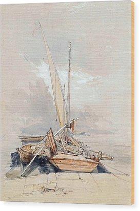 Boats At Quayside Lake Geneva Wood Print by James Holland