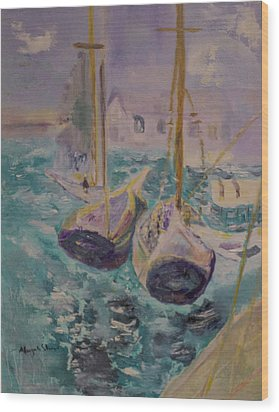 Boats At Sea Wood Print