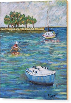 Boats At St Petersburg Wood Print by Michael Daniels