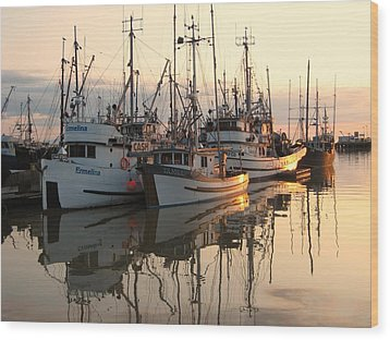 Boats At Steveston Harbour  Wood Print by Shirley Sirois