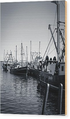 Boats At The Pier  Wood Print