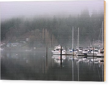 Boats Between Water And Fog Wood Print