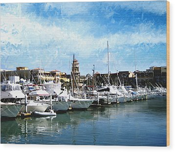 Boats Cabo San Lucas Wood Print by Ann Powell