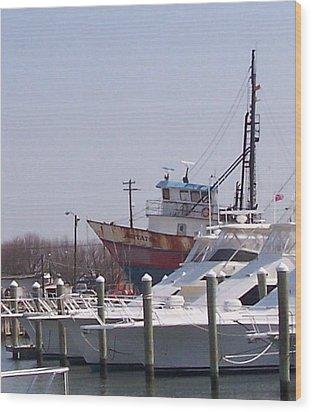 Boats Docked Wood Print by Pharris Art