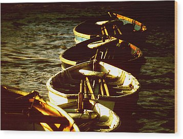 Boats In A Line Wood Print