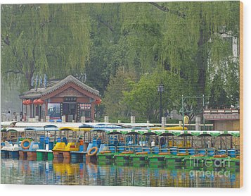 Boats In A Park, Beijing Wood Print by John Shaw