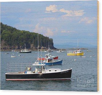 Boats In Bar Harbor Wood Print