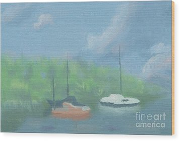 Boats In Cove Wood Print by Arlene Babad