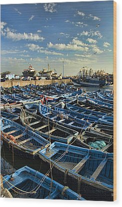 Boats In Essaouira Morocco Harbor Wood Print by David Smith
