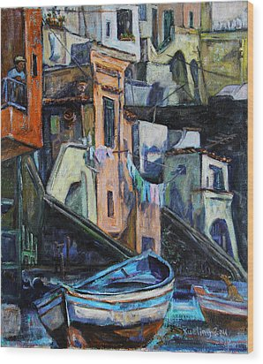 Boats In Front Of The Buildings I  Wood Print