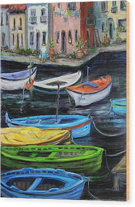 Boats In Front Of The Buildings II Wood Print