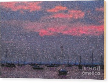 Boats In Harbor Wood Print by Jeff Breiman