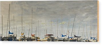 Wood Print featuring the photograph Boats In Harbor Reflection by Peter v Quenter