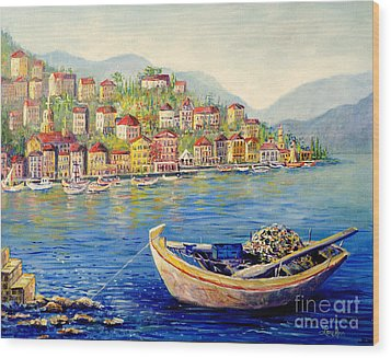 Boats In Italy Wood Print by Lou Ann Bagnall